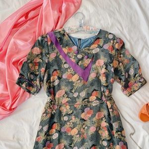 Vtg Floral Purple Neon Garden Silk Shift Dress